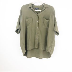 Madewell Green Silk Courier Oversized Shirt Large